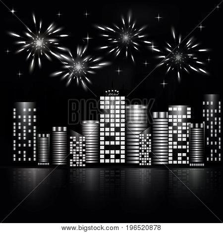Firework in the night sky of the city. Stars in the night sky lighting with firework. Vector illustration. Abstract background with buildings, firework, stars. Black and white vector illustration