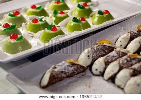 Sicilian cassata and cannoli a traditional sweet from Sicily Italy