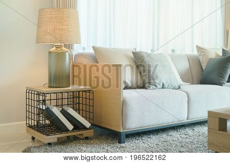 Table Lamp Next To Comfy Sofa In Modern Style Living Room