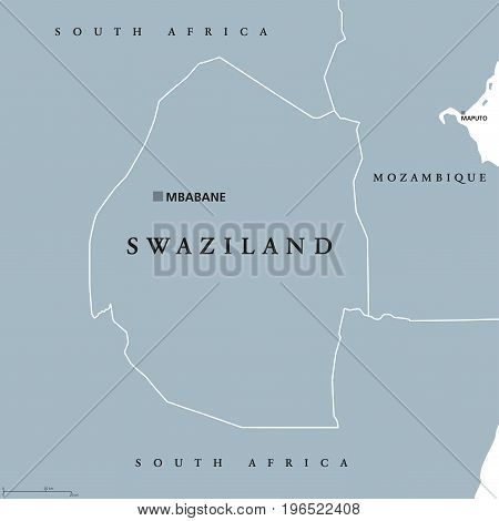 Swaziland political map with capital Mbabane. Kingdom of Eswatini, sometimes called Kangwane. Sovereign state and landlocked country in South Africa. Gray illustration with English labeling. Vector.