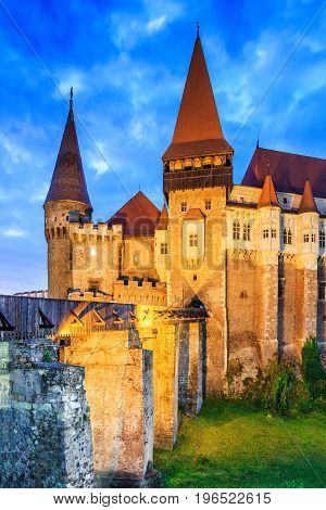 Hunedoara Transylvania Romania Europe.Beautiful panorama of the Corvin Castle with wooden bridge.