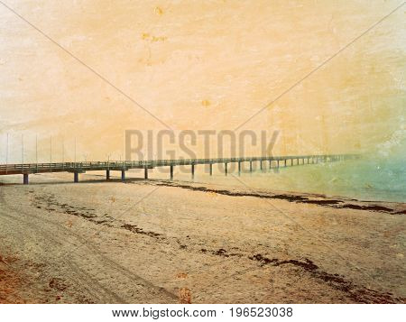 Film Effect. Autumn Misty Morning On Wooden Pier Above Sea. Depression, Dark  Atmosphere. Touristic