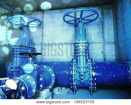 Film Effect. The Main City Underground Water Shafts. 500Mm Large Drink Water Pipeline With Gate Valv