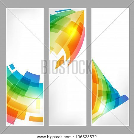 Set tech banners with abstract business symbol on white