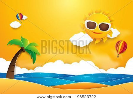 Summer time vector banner design. Sun with hot air balloons flying over beach and sea