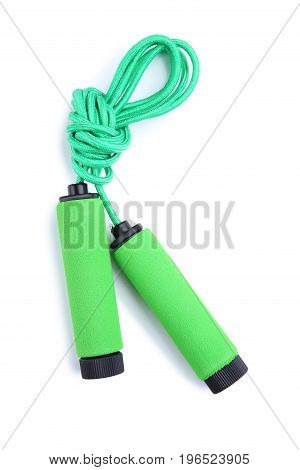 Green Skipping Rope Isolated On A White Background
