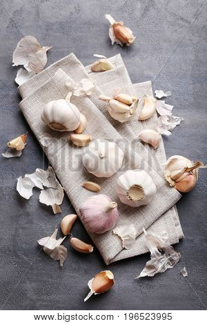 Fresh Garlic on the grey wooden table