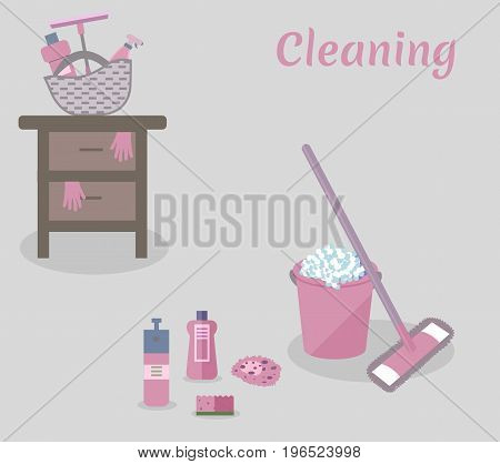 Tools for housekeeping: a pink bucket with soapy foam, MOP with handle and cloth, bottles of detergent with covers, sprays and a sponge, a squeegee, a table. Vector illustration. Cleaning