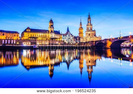 Dresden Germany. Cityscape on the Elbe River.