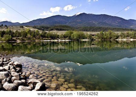 Amazing Panorama to lake, Pirin Mountain background in Bansko, Bulgaria