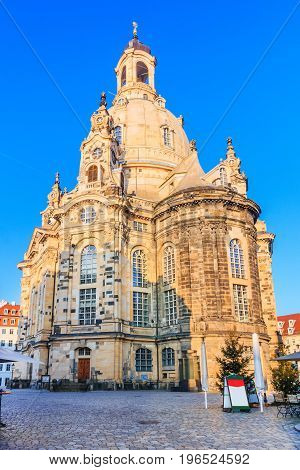 Dresden Germany. Frauenkirche Cathedral in the morning.