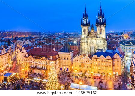 Prague Czech Republic. Christmas market on Old Town Square with gothic Tyne cathedral.