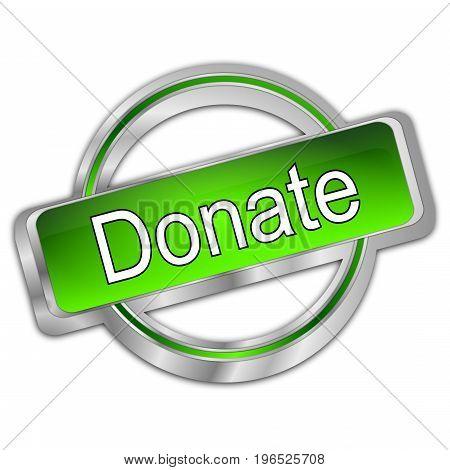 decorative green Donate Button - 3D illustration