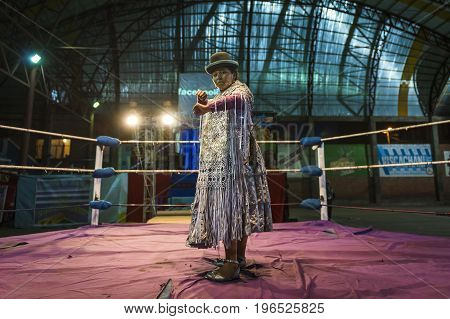 El Alto Bolivia - December 8 2013: Cholita wrestler posing in the ring before a wrestling fight in the city of El Alto Bolivia. The Fighting Cholitas are a group of female wrestlers.