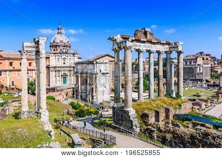 Rome Italy. Ruins of the Roman Forum.