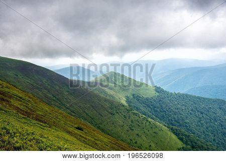 Amazing carpathian mountains and dramatic sky. Ukraine