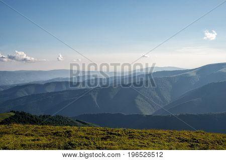Amazing carpathian mountains and blue sky. Ukraine