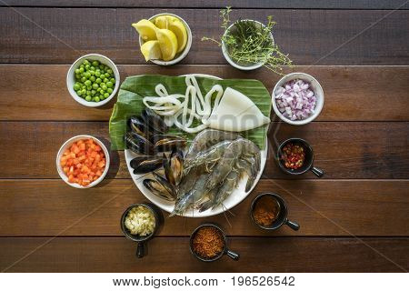 Overhead Shot Of Raw Seafood On Plate, Healthy Food, Prawn, Clam Squid