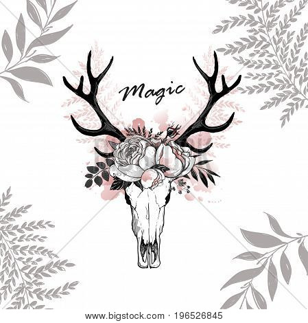 Beautiful vector horns with flowers. Hand drawn boho chic style design elements with deer antler, watercolor, roses, flowers isolated on white background Black line