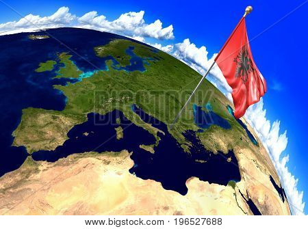 Albania national flag marking the country location on world map. 3D rendering, parts of this image furnished by NASA