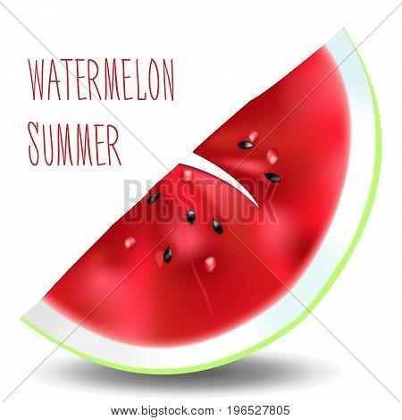 Beautiful vector illustration. Bright juicy piece of watermelon. Summer