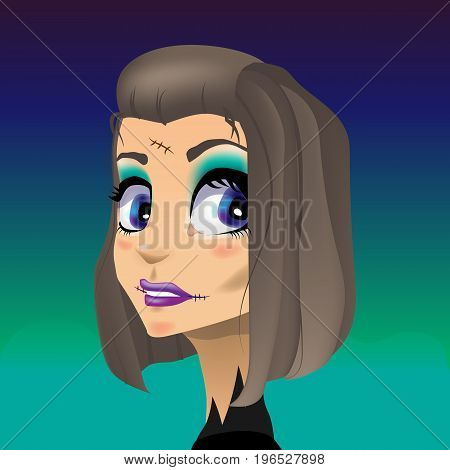Beautiful vector illustration. The girl is a zombie. Suit for Halloween.