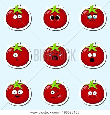 Cartoon tomato cute character face isolated vector illustration. Funny vegetable face icon collection. Cartoon face food emoji. Tomato emoticon. Funny food sticker.