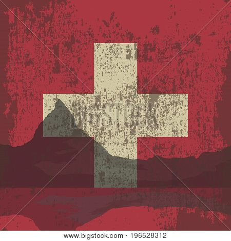 Mountains of Switzerland and the state flag.