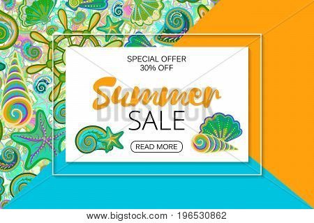 Summer sale banners on bright background with hand drawing marine life. Vector