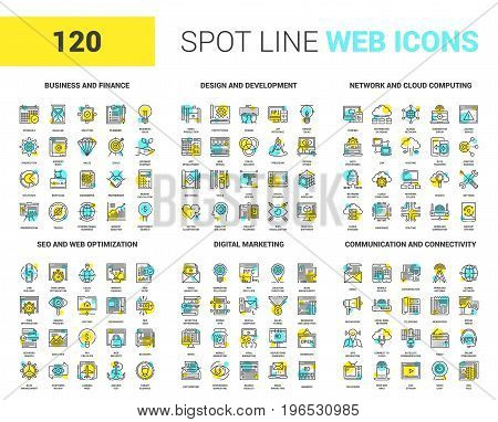 Vector set of 120 spot line web icons on following themes - business and finance, design and development, network and cloud computing, SEO and web optimization, digital marketing, communication