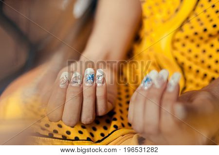 Hands A Beautiful Manicure Bride At Wedding