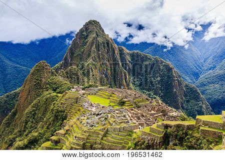 Machu Picchu Peru. UNESCO World Heritage Site. One of the New Seven Wonders of the World.