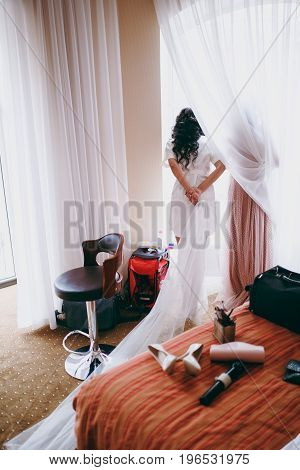 Amazing Bride Is Watching In The Window