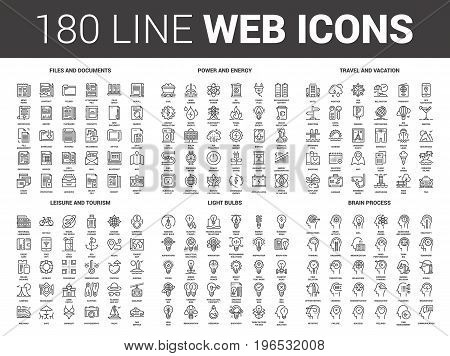 Vector set of 180 flat line web icons on following themes - files and documents, power and energy, travel and vacation, leisure and tourism, light bulbs, brain process