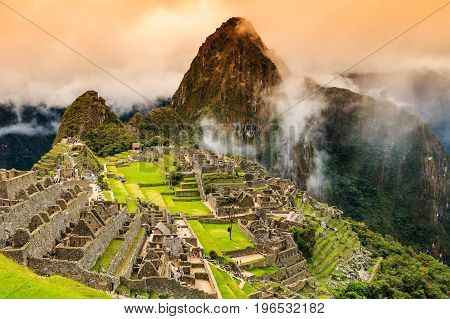Machu Picchu Peru. UNESCO World Heritage Site. One of the New Seven Wonders of the World.
