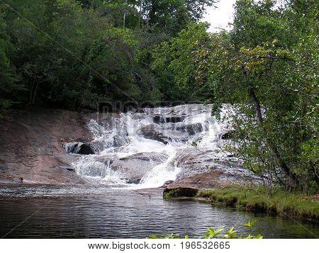 Waterfall in French Guyana rainforest, south america