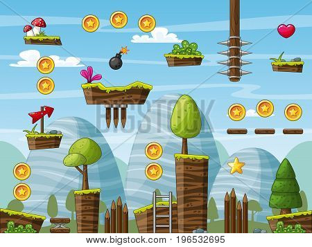 Nature game pack game asset jump and run seamless. Vector illustration with separate layers.