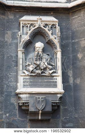 Memorial Plaque Of Friedrich Von Schmidt On The Tower Of Cathedral Of Saint Stephen In Vienna Austri