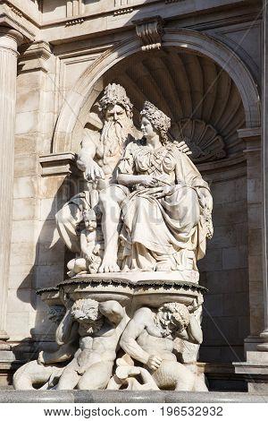 Neptune Fountain Next To Albertina Museum