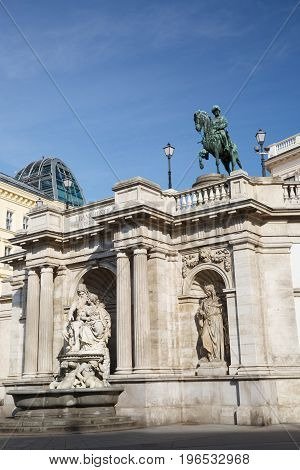 View Of Franz Joseph I Statue And Albertina Museum