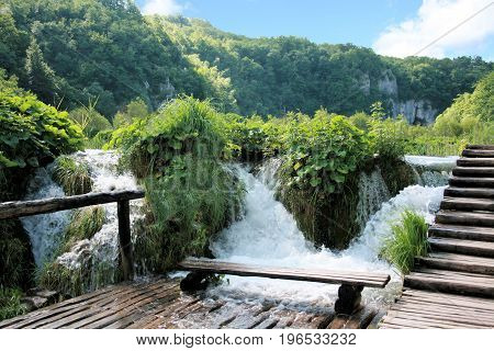 hiking trail in the national park Plitvice, Croatia