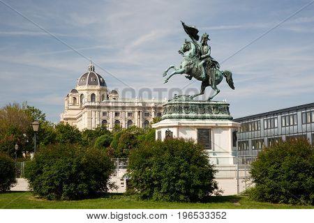 Equestrian Statue Of Archduke Charles Of Austria (erzherzog Karl) And Museum Of Art History, Vienna