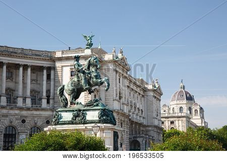 Monument Of The Prinz Eugen (der Edle Ritter) On Heldenplatz In Hofburg. Vienna