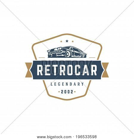 Hot rod car logo template vector design element vintage style for label or badge retro illustration. Classic car silhouette.