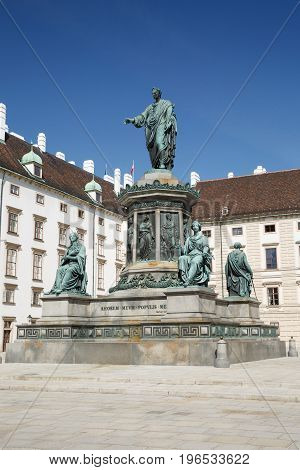 Statue Of The Emperor Franz I Situated On The Inner Courtyard Of The Hofburg Palace In Vienna