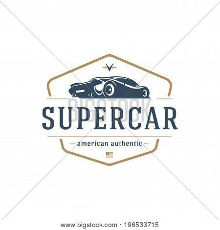 Sport car car logo template vector design element vintage style for label or badge retro illustration. Super car silhouette.