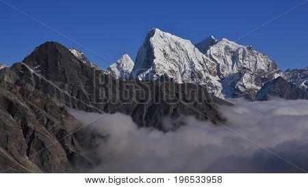 Autumn scene in the Gokyo valley Mount Everest National Park.