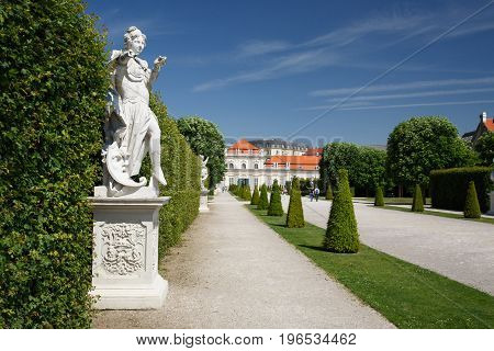 Beautiful Statues In The Garden Of The Lower Belvedere Palace. Vienna