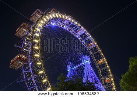 Wiener Riesenrad In Prater - Oldest And Biggest Ferris Wheel In Austria.
