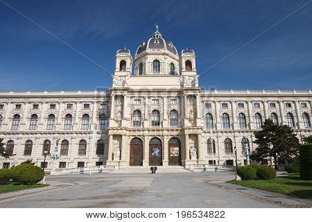 Panoramic View Of Famous Landmark Palace Art History Museum Vienna. Austria